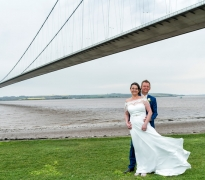 Bride and groom and the Humber bridge