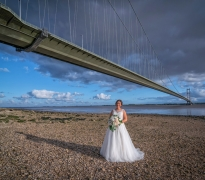 Bride under the Humber bridge