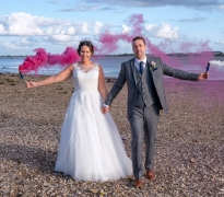 Bride and groom and flares