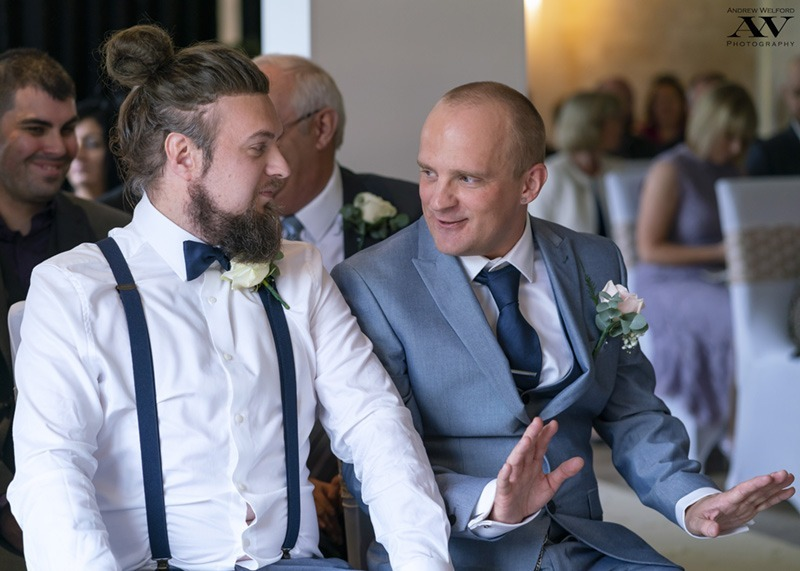 Groom and Best Man awaiting the Bride at Skidby Millhouse